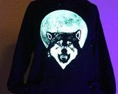 Glow in the Dark Wolf Full Moon Hoodie S M L XL 2XL