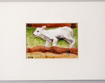 "ACEO Original Watercolor Paintings - Sheep - Spring  Lamb - 2 1/2"" x 3 1/2"" - Artist Trading Cards - Art Cards - Fine Art - Easter Gift"