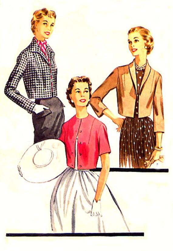 1950s Bolero Jacket - McCalls 3544 -  Wing Collar - Long / Short Sleeves - Vintage Sewing Pattern - Plus Size 20 / Bust 40