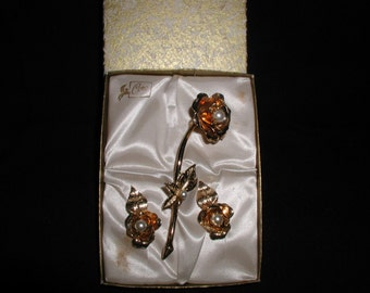 Vintage Coro Brooch and Earring Set in Original Box