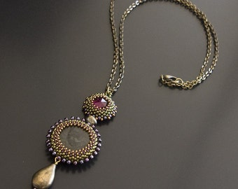 Brass Chain Necklace with Bronze Beaded Pendant of Olive Green Spiderweb Agate Gemstone and Purple Glass Cabochon and Brass Drop S113