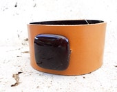 Beaded Leather Cuff Bracelet in Caramel, Leather Jewelry, Women's Leather Accessories