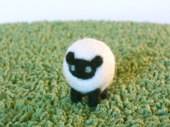 Needle Felted Tiny Sheep Miniature Figurine - Made to Order - Felt Sheep or Lamb Art Doll - Needlecraft Sheep - Farm Animal Sculpture