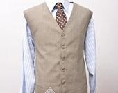 Men's Size 50/XXL Beige Vest Upcycled with Celtic Knot