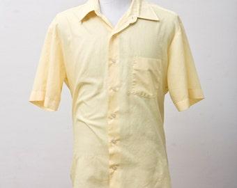 Men's Shirt / Vintage Yellow Short Sleeve Oxford / Size XL