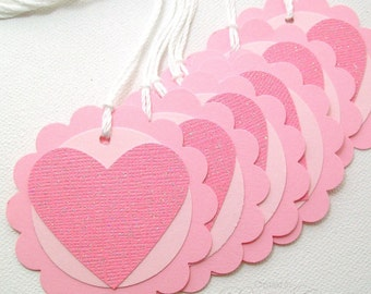 Valentine's Day Tags - Personalized Tags - Pink Glitter Heart Tags - Wedding Tags, Valentine Favor Tags,