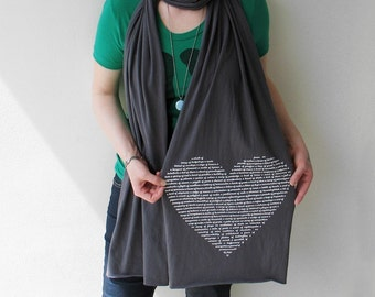 Gray Animal Lover Heart Scarf, Valentine's Day gift for her gift for wife text scarf, jersey scarf winter layer, animal collective nouns