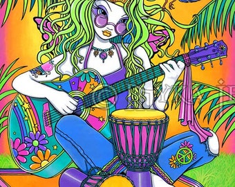 "Melody-  16""x20""  Original Acrylic Painting Musical Rainbow Hippie Fairy"