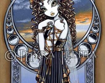Fairy Art Print Girls Room Art Lucia Flower Moon Phase Faerie by Myka Jelina