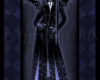 Mina Gothic Blue Alchemical Vampire Fae Art Print