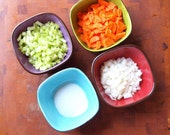 Colorful Prep Bowls Kitchen Prep Bowls Food Prep Bowls Urban Fusion Extra Small Square Bowls Set of 4 Pottery Gift for Chef Romy & Clare UF