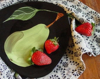 """Small Plate Serving Plate Triangular Plate Pear Small Triangle 7.5"""" Green Pear Pottery Dessert Serving Teacher Gift Hostess Gift P"""