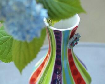 Vase Tall Vase Colorful Vase Ceramic Vase Jubilation Blooming Contempo Vase No.3 Pottery Boho Home Decor Gift for Teacher Romy and Clare JB