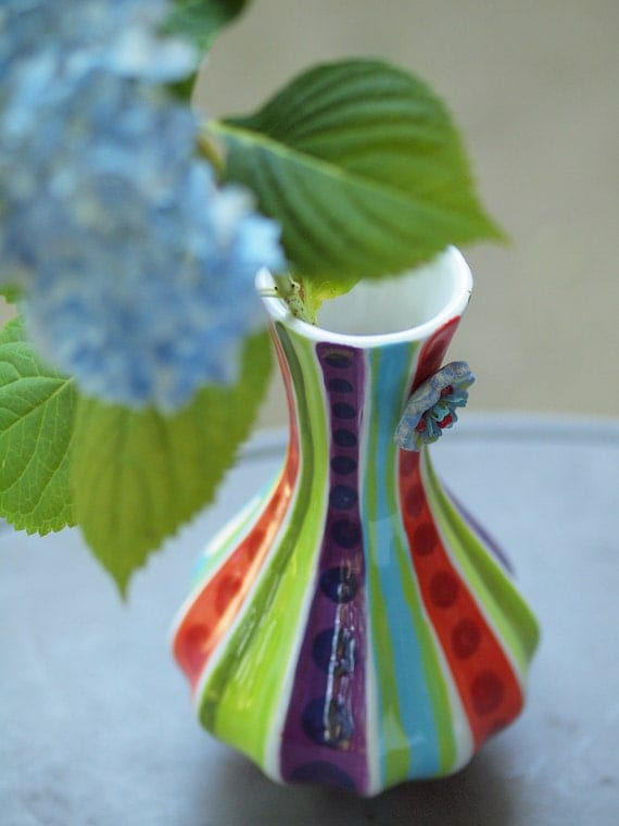 Vase Tall Vase Colorful Vase Ceramic Vase Jubilation Blooming Contempo Vase No.3 Pottery Boho Home Decor Gift for Teacher Romy and Clare JB