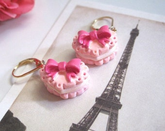 Sweet Lolita Kawaii Cute Pastal Pink Heart Confectionery Desserts with Dark Pink bow Macaroons earrings. For Her. Birthday Gifts. Graduation