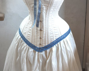 Steampunk Wedding Dress: Ivory and Blue Corset & Skirt