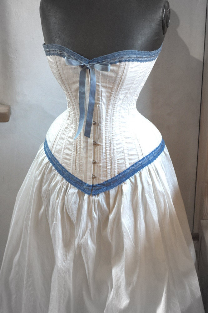 steampunk wedding dress ivory and blue corset skirt