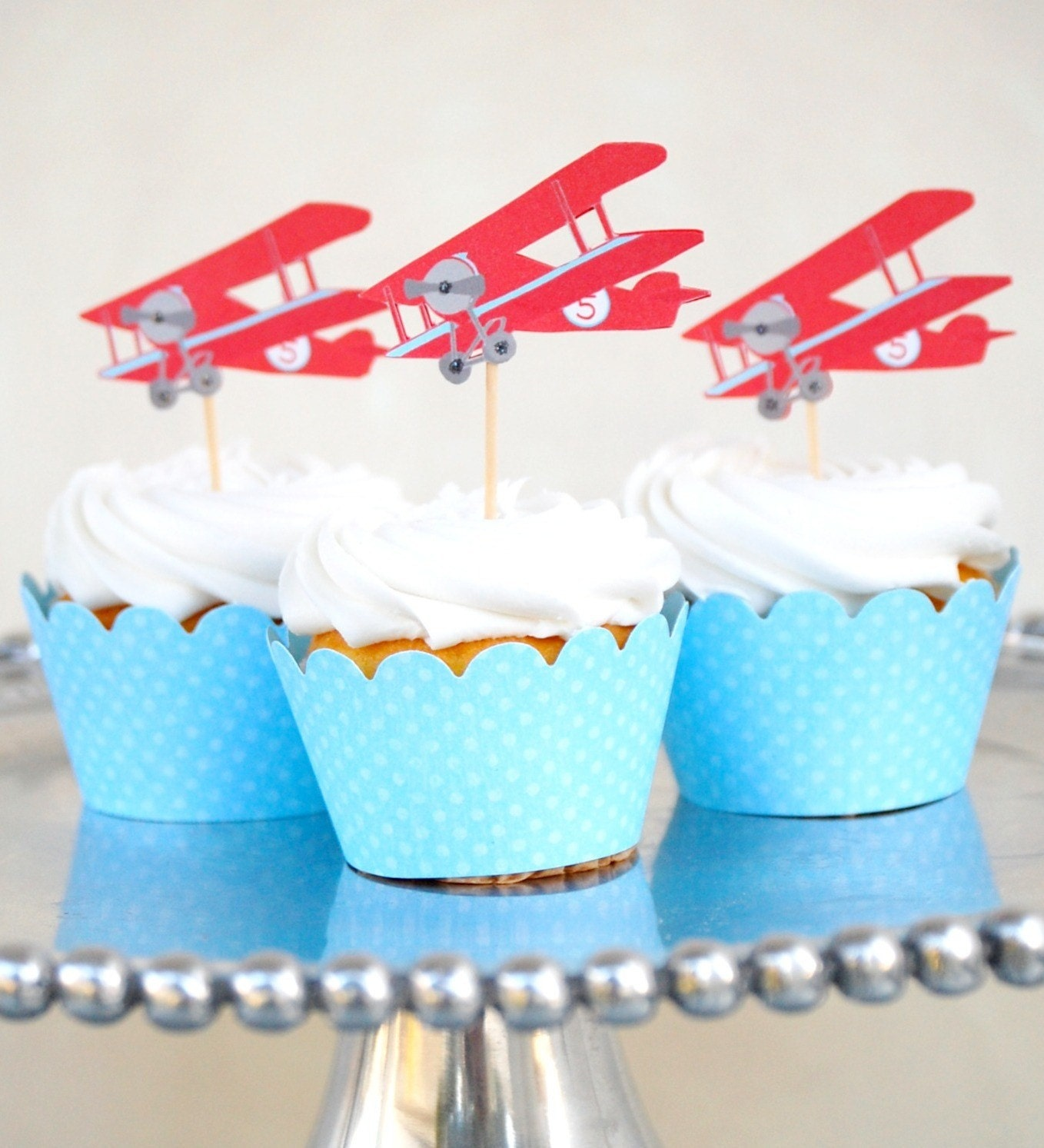 The Vintage Plane Collection Custom Cupcake Toppers and