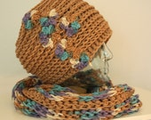 Brown, Blue, Lavender Thick and Chunky Hat and Scarf Set