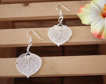 Silver Aspen Leaf Earrings, Real Leaf Earrings, Aspen Leaf, Sterling Silver Earrings, LESM49