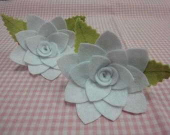 Set of 2pcs handmade felt flower with leaves--white (FT346)
