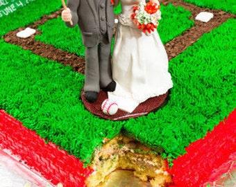 Sports Themed Wedding Cake Topper,Custom wedding cake topper, Bride and groom cake topper, personalized cake topper, , custom cake topper