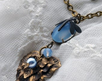 Misty Morning Blues - Nature inspired layered leaves necklace with pastel blue opal, dragonfly and pearl