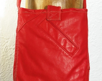 SALE!!! Recycled Red Leather Tote - shoulder bag, across shoulder, aone of a kind