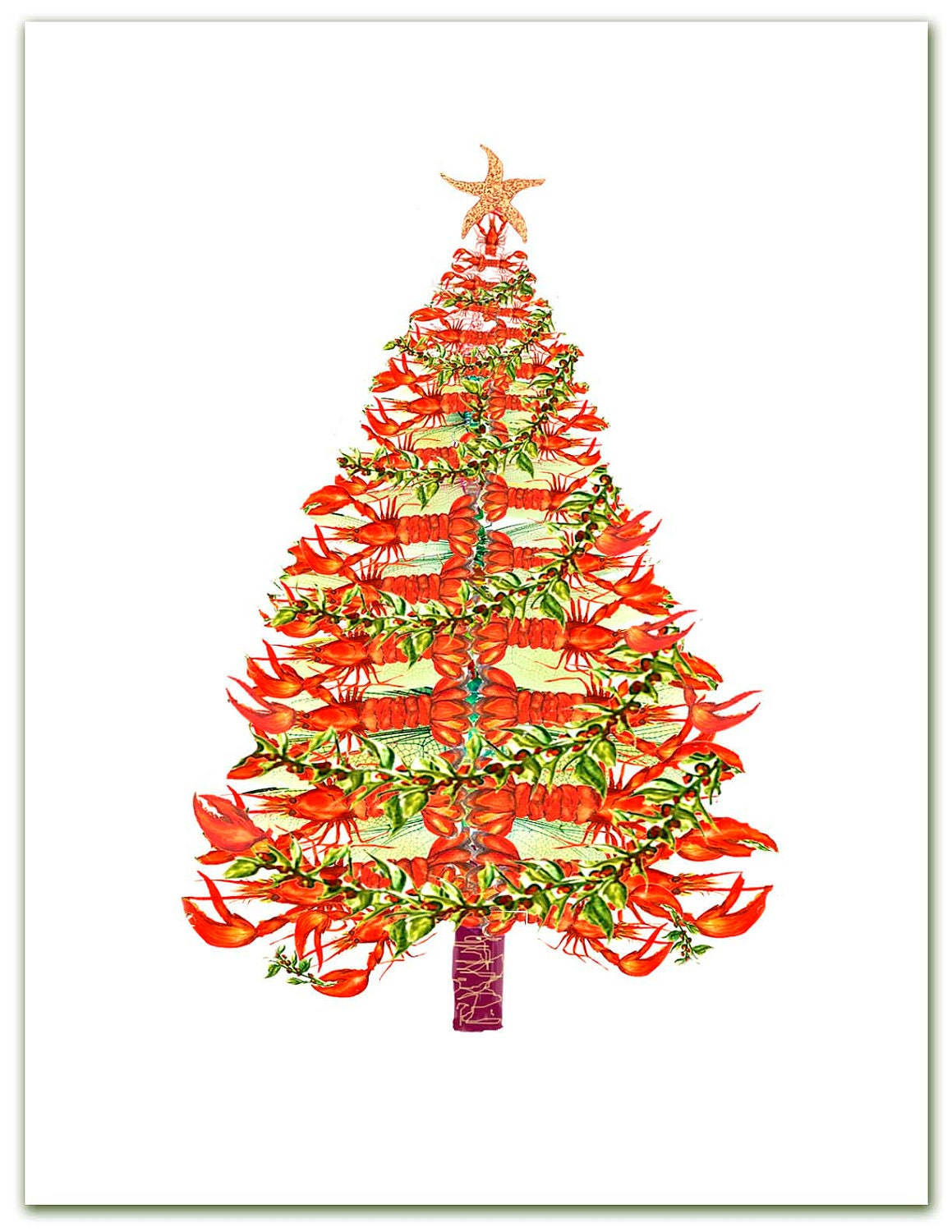 Lobster Tree Christmas cards. nautical Christmas by ShirleyBell