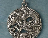 Large Round Dragon with Mount Fuji Sterling Silver Pendant