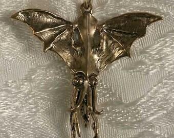 Bat Squid Bronze Pendant