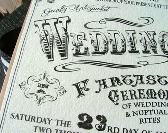 Carnival Wedding Invitations -Incredible Poster Wedding- Vintage Carnival, circus wedding, RSVP cards