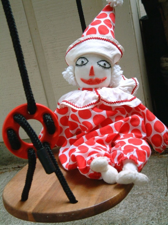 Vintage 1950s Soft Clown Toy Doll in Red and White Polka Dot Retro Mid Century Folk Art Circus Display