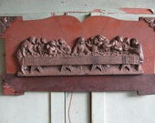 1930's Last Supper Cast Plaque mounted on wood, Jesus and his disciples, Catholics, Christian, Religious Home Decor