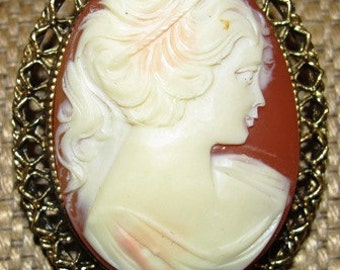 Vintage 1960's Jewelry Antique style Carved Cameo Pendant  Young Woman, Victorian design fashion jeweler ornate Feminine delicate 55e