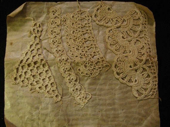 Victorian Lace 1900's Victorian Hand Made Tatting & Crochet Samples  vintage lovely feminine fashion style design Textile Arts