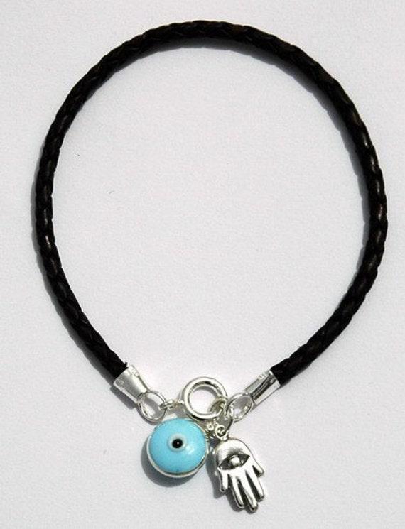 Braided Leather Hamsa Hand Charms & Evil Eye Pendant Bracelet