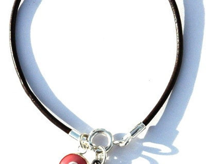 Match Making Solomon Seal with Pink Evil Eye Charm on Leather Bracelet