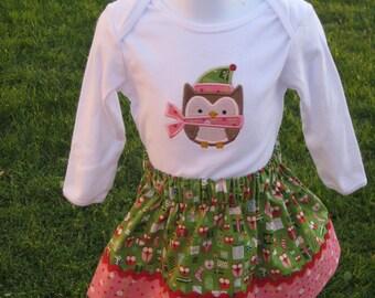Christmas Owl Skirt Set  Boutique
