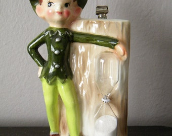 SALE-Vintage Enesco Pixie Egg Timer and Recipe Holder