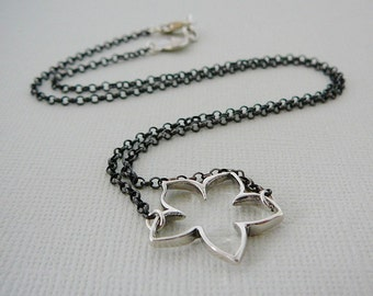 Sterling Silver Necklace, Lotus Flower Charm Pendant, Antiqued, Oxidized Patina spring