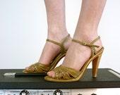 Strappy Sandals - Vintage Stiletto Heels, Size 6 - 6.5