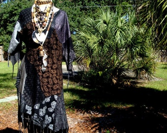 Fancy Tribal Black Suede Dress, Fringed, Shamans, Dreamers, Patchwork , Assymetrical, Sexy as heck,  Animal  Patterns in Silver Tribal