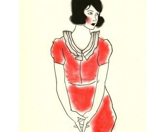Fashion illustration  - 4 for 3 SALE -  Gabriela - 4 X 6 print