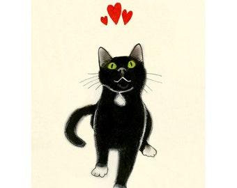 "Valentine's Day Cat art love heart  print black cat print - Yours Devotedly  -  5.8"" X 8.3"" kitty print - 4 for 3 Sale"