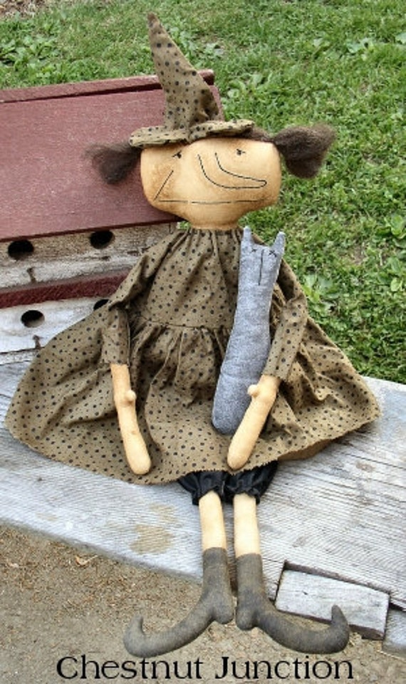 Hilda EPATTERN - primitive country halloween witch cloth doll craft digital download sewing pattern - PDF - 1.99
