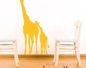 Giraffe Wall Decal Jungle Safari - Giraffe Vinyl Sticker- Mom and Baby Silhouette - Nursery Vinyl Wall Art Sticker - CA101A