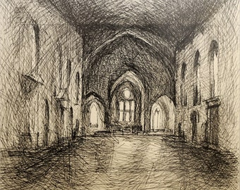 Architectural Interior Ink Drawing - 18 x 19 Matted  - by Michelle Arnold Paine