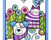 Childrens Art Print/ Whimsical Dog, Cat, Bird, Butterfly by Susan Faye/ Matted to 11 x 14