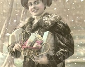 French Christmas, Juliette's Sincere Snowy Wishes - French Postcard early 1900's - Scan, Gift Tag - Instant Digital Download FC013